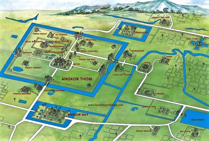 Angkor Wat Temples Map Siem Reap Cambodia aroundtheworldwithjustin.com