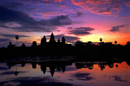 Visiting Angkor Wat Temple sunrise Cambodia Siem Reap aroundtheworldwithjustin.com