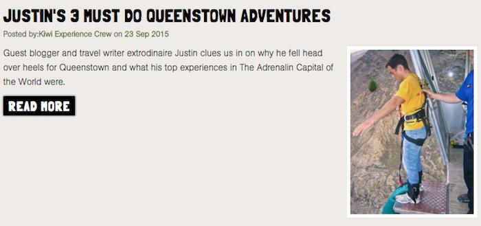 Kiwi Experience Queenstown New Zealand travel writer Justin Walter