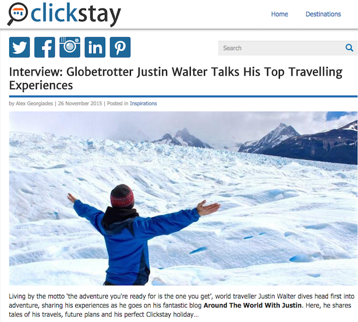 Around the World with Justin Travel Blog travel writer Justin Walter Clickstay