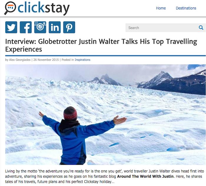 Around the World with Justin Travel Blog travel writer Justin Walter Clickstay
