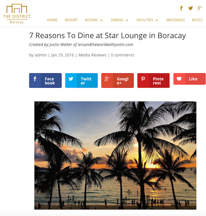 Boracay Philippines The District Star Lounge travel writer Justin Walter