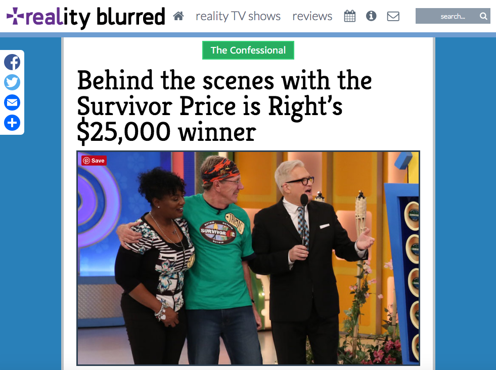 Price Is Right Survivor Special Cirie Fields Thomas Walter Jeff Probst travel writer Justin Walter