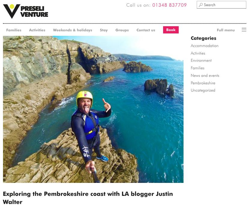 Preseli Venture Pembrokeshire Wales coasteering