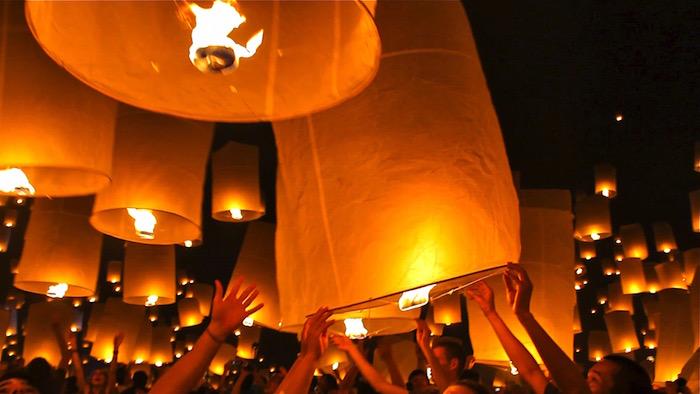 Yi Peng Lantern Festival Chiang Mai Thailand Girl on Fire atwjustin.com