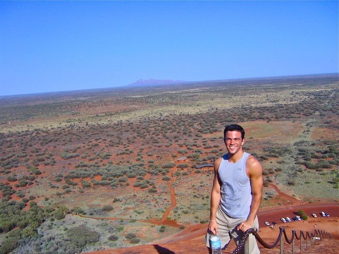 Solo Traveler Australian Outback Ayers Rock Uluru hike Down Under Solo Travel Writer Justin Walter atwjustin.com