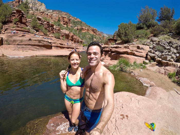 slide rock state park sedona arizona flagstaff cliff jumping natural water slide travel blog justin walter amy paffrath atwjustin.com