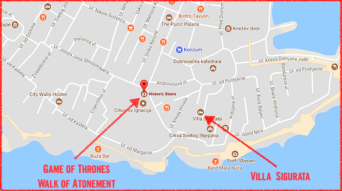 Game of Thrones Walk of Atonement Shame Cersei Lannister Kings Landing Dubrovnik Croatia GOT map