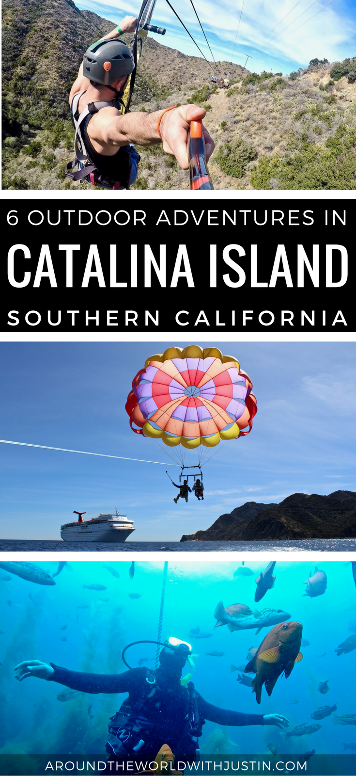 Things to do in Catalina Island parasailing zip lining scuba diving ropes course kayaking jeep tour