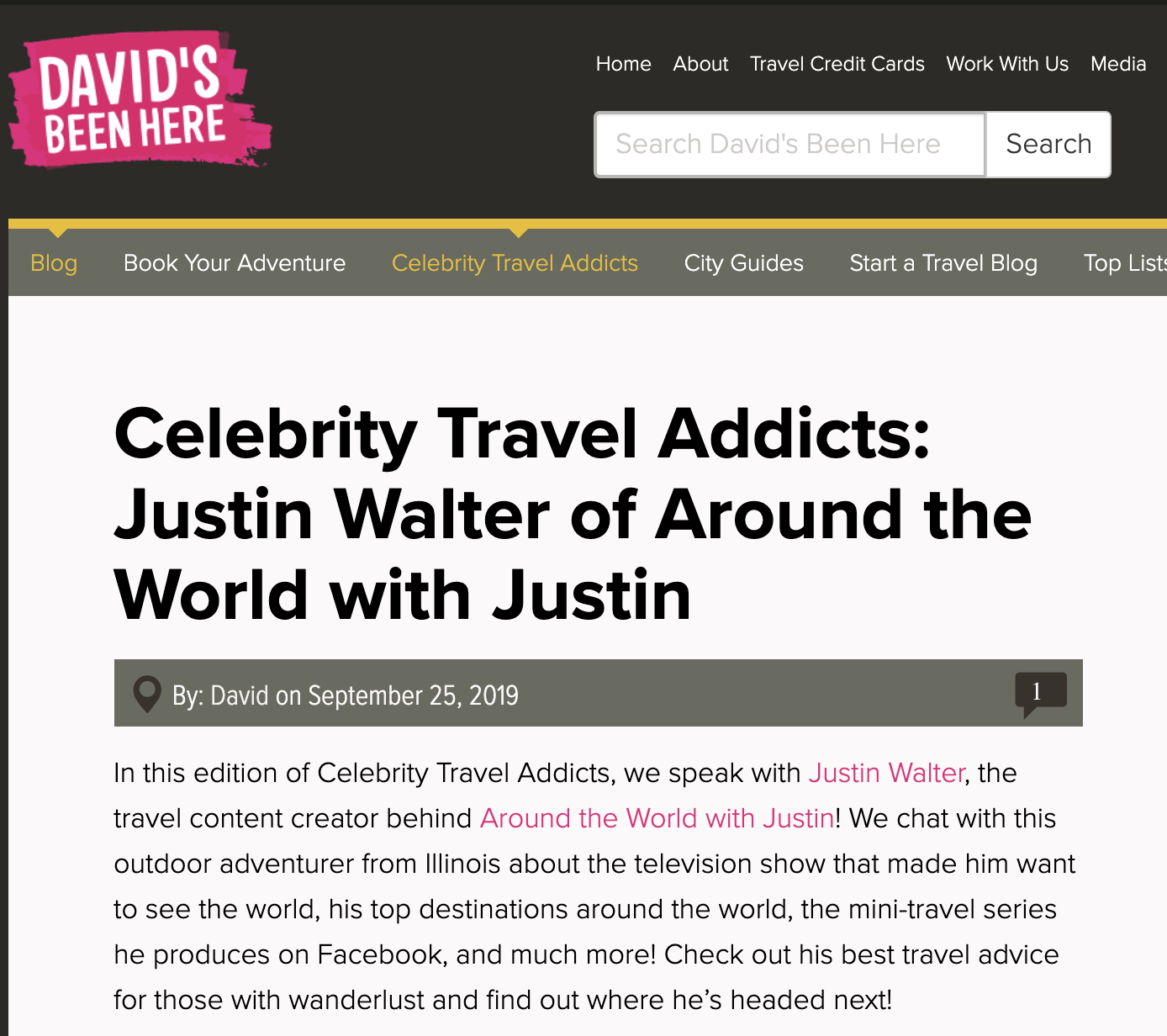 David's Been Here Celebrity Travel Addicts Justin Walter