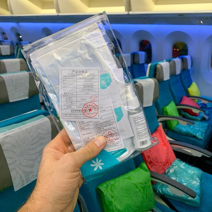 Air Tahiti Nui COVID hygeine kit