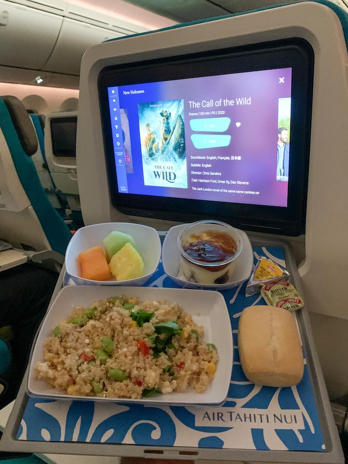 Air Tahiti Nui airplane food meal