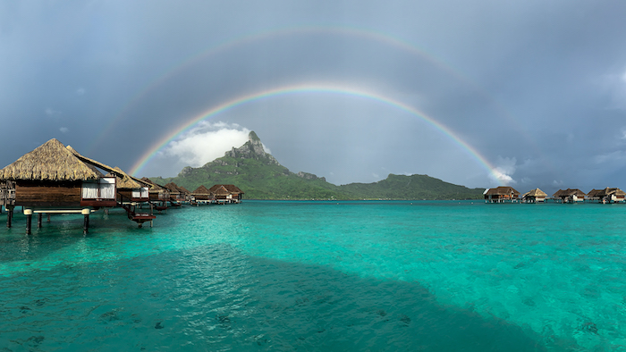 double rainbow bora bora overwater bungalow best places to stay in Tahiti
